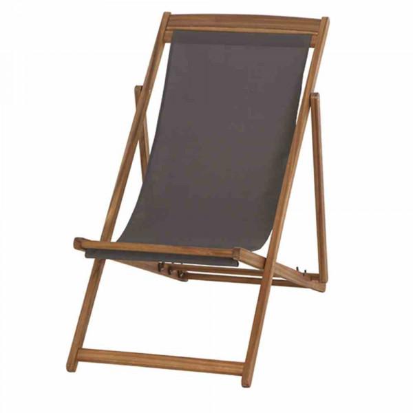Liegestuhl aus Akazienholz Stoff Anthrazit verfügbar KW22
