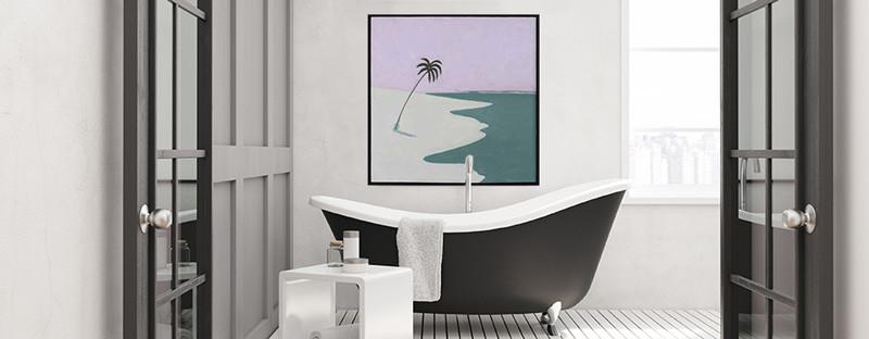 Foto zeigt Bild über einer Badewanne