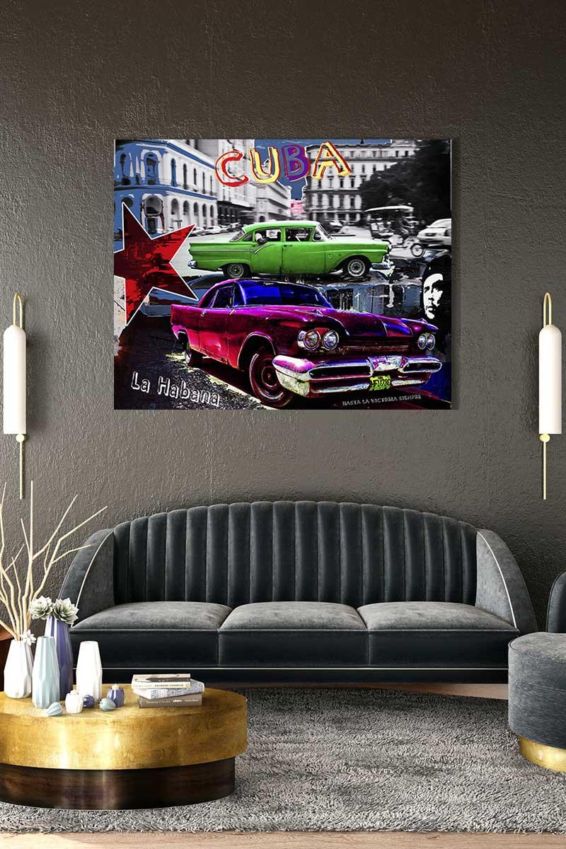 Zeigt die eine Collage im Wohnzimmer