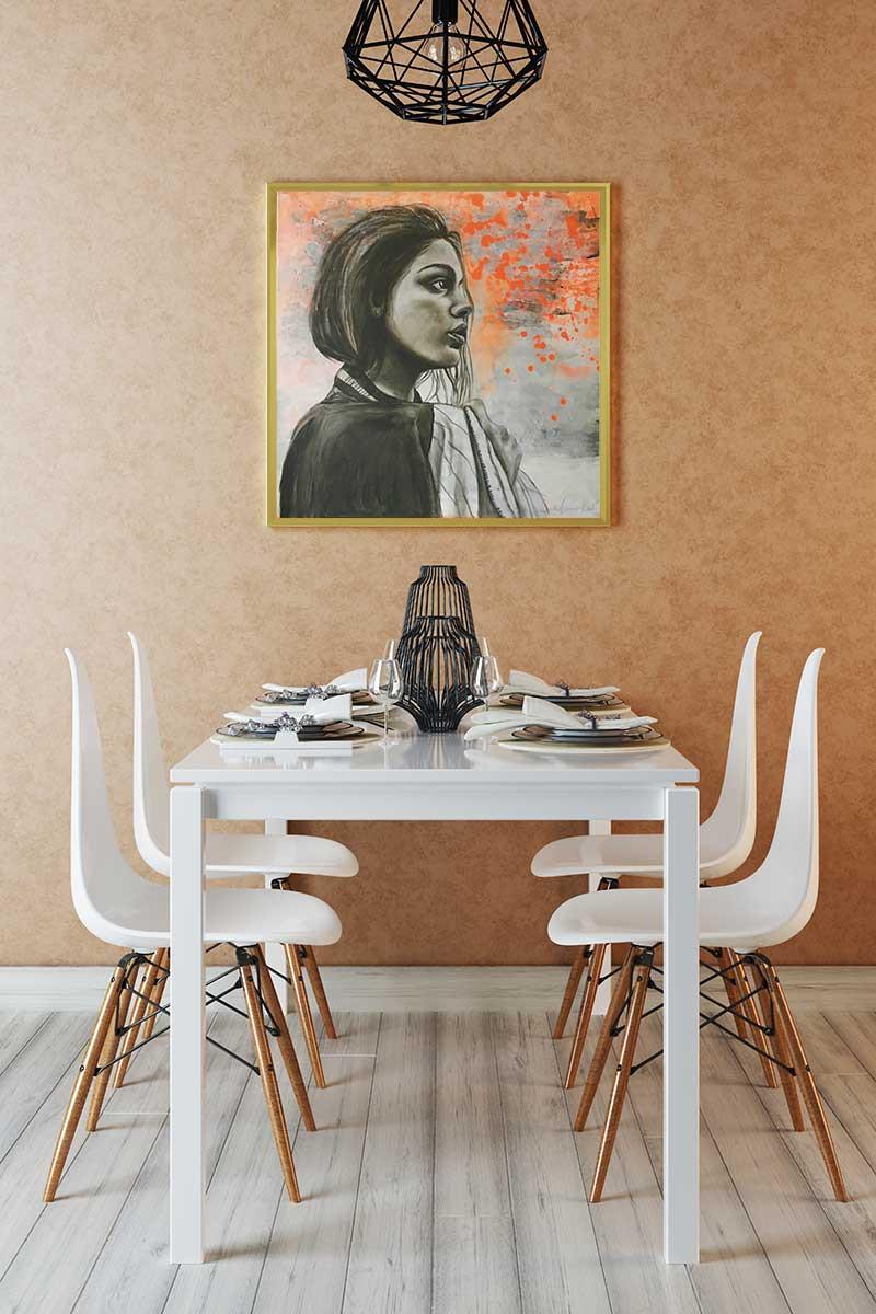 Das Acrylbild Far Away im Esszimmer
