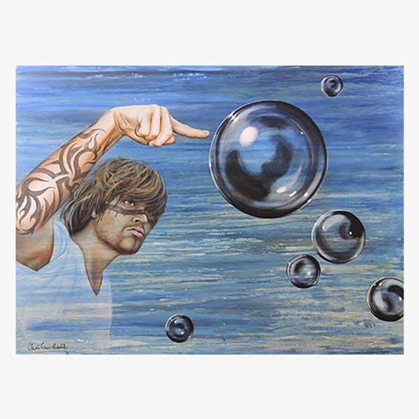 Acrylbild: Black Bubbles Flying 160x120