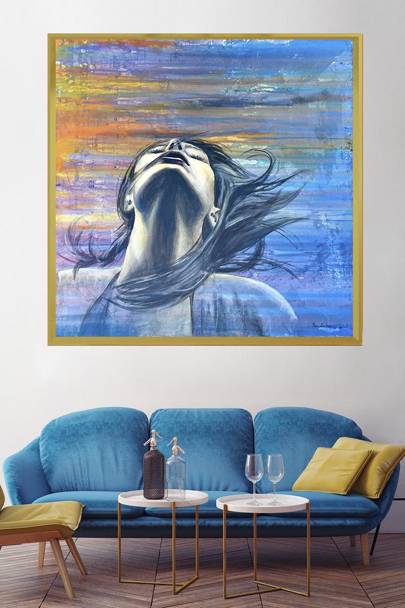Foto zeigt das Acrylbild Free über einem Sofa