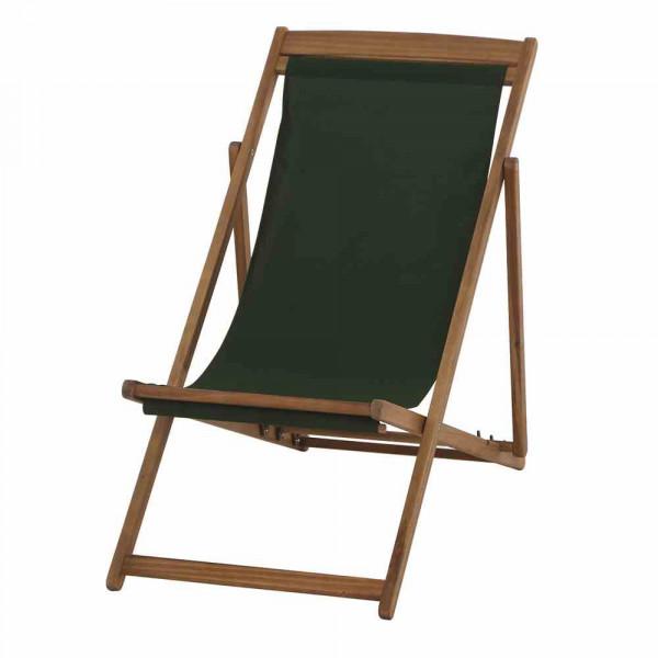 Liegestuhl aus Akazienholz Stoff Dunkelgrün verfügbar KW22
