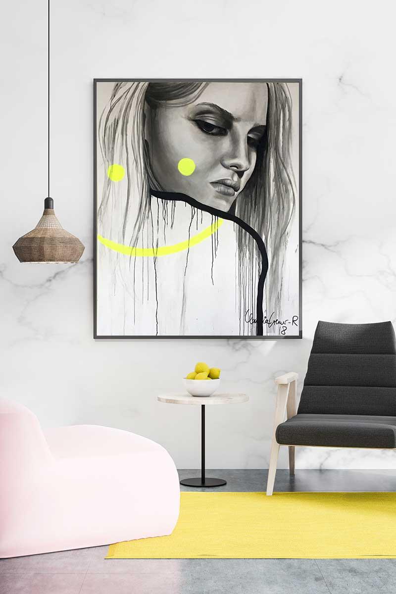 Zeigt das Acrylbild Smilies an einer Wand