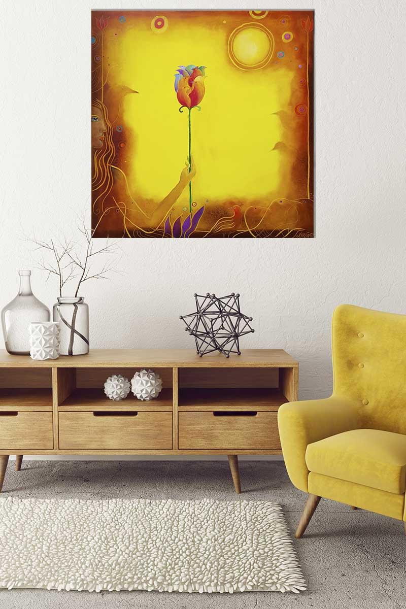 Im Wohnzimmer dargestelltes Ölbild