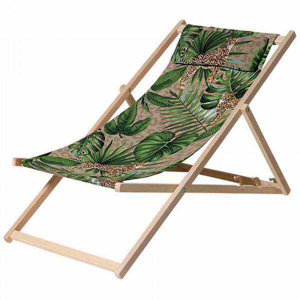 Liegestuhl aus Holz poppiger Palmenbezug