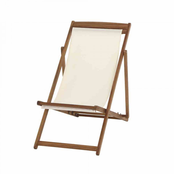 Liegestuhl aus Akazienholz Stoff Cremeweiß